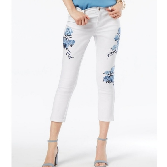 INC International Concepts Denim - INC Floral Embroidered Cropped Jeans